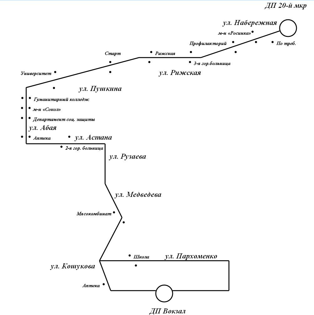 ско петропавловска автобус маршрутки 16 схема