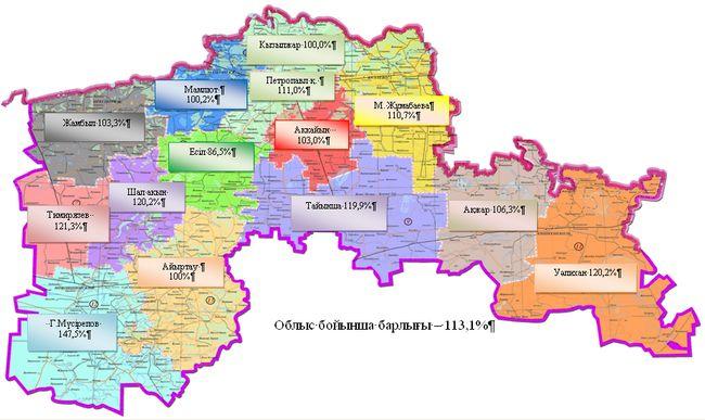 Солтүстiк Қазақстан облысы бойынша аудандарға шаққанда 2013 жылғы қаңтар–желтоқсан айы бойынша ауыл шаруашылығы өнiмiнiң нақты көлемiнiң индексi